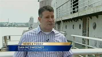 """Dan McSweeney heads up the redevelopment project. He has a family connection to the ship -- his father was a crew member. """"This ship has a lot of potential as a mixed use development in any city we go to,"""" McSweeney said."""