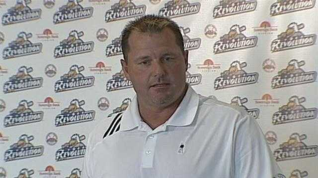 Roger Clemens talks to the media in York on Tuesday.