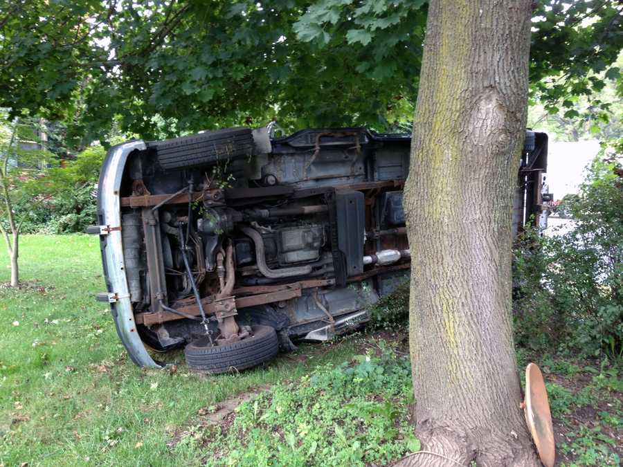 A pickup truck went into a yard and flipped on its side Wednesday afternoon in Berwick Township, Adams County.