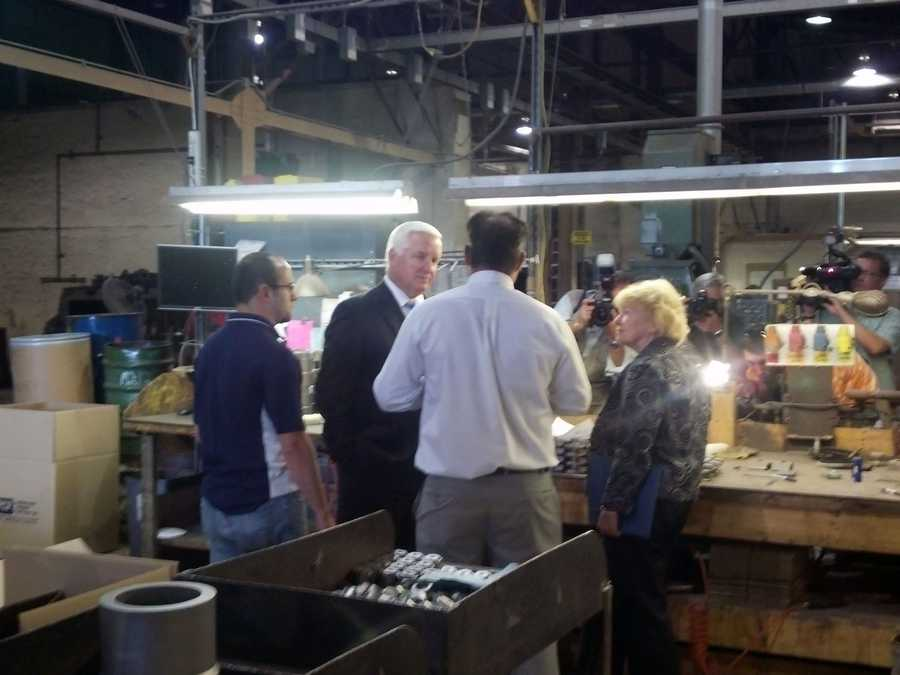 Gov. Tom Corbett toured a Lebanon business Monday, where he signed a bill that protects small business from too many regulations.