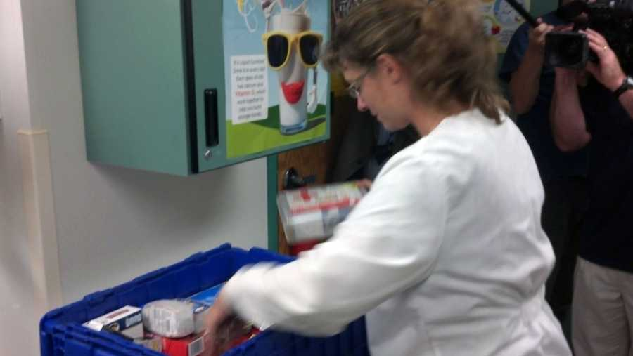 The nurses' offices were restocked with first aid kits as well as personal care items and healthy snacks.