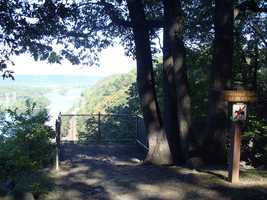The 380-foot high cliffs that overlook the river make the views possible. Visitors should stay well back from the drop-off areas.