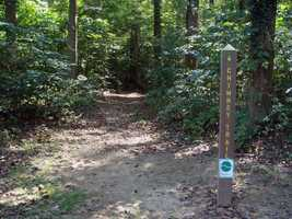 The entrance to the Chimney Trail is located just inside the park gate.