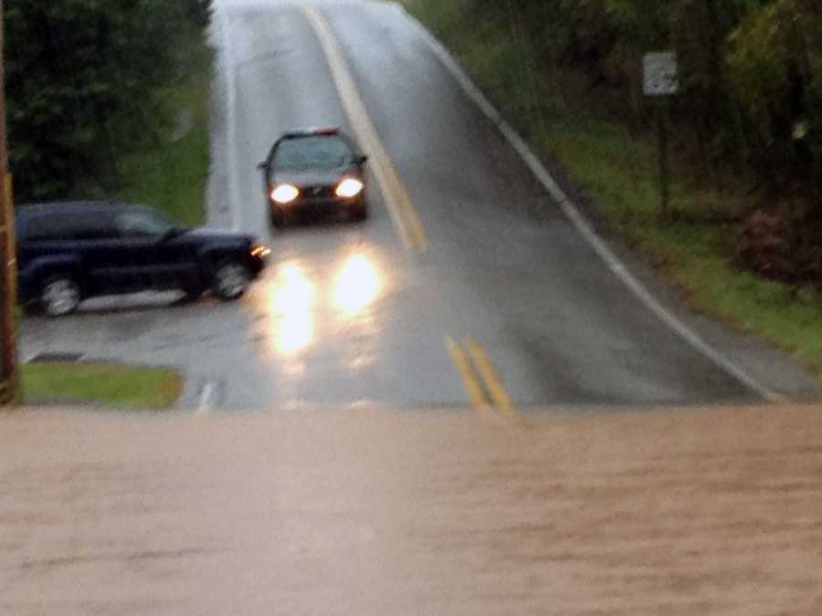 News 8's Ed Weinstock spotted this flooding along Baker Road in Dover Township, York County, on Tuesday afternoon.