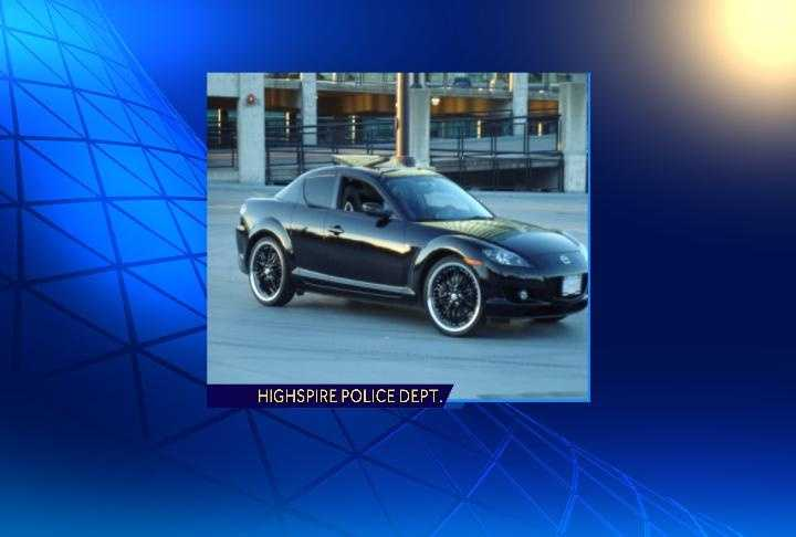 Police said he is driving a black or dark grey Mazda RX-8 sports coupe similar to the one in this photo.
