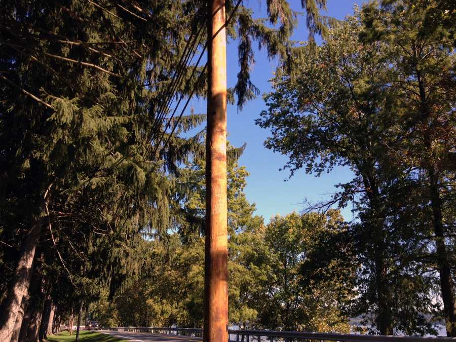 The utility pole that the cruiser struck has been replaced.