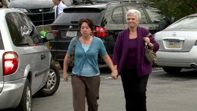 Jerry Sandusky's wife, Dottie Sandusky, arrives at the courthouse.