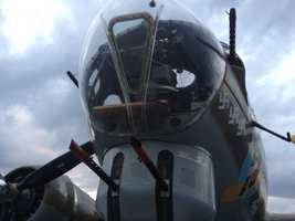 The planes include a B-17 Flying Fortress, B-24 Liberator and a P-51 Mustang.