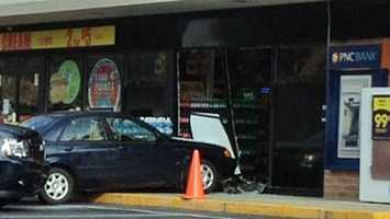 Hummelstown police say the person driving the car got confused between the brake and gas pedal. The driver jumped the curb and drove into the store on the 1000 block of Hummelstown Road.