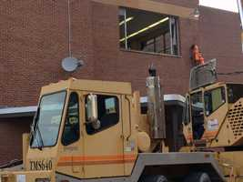 Two pieces of the map were moved in Wednesday and the other two pieces will be moved in Thursday.