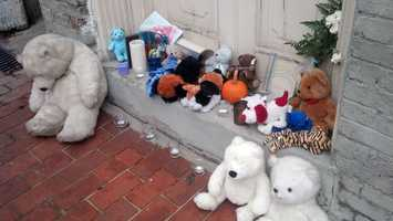 This memorial to Andrew Moyer Jr. was set up in the days after his death.
