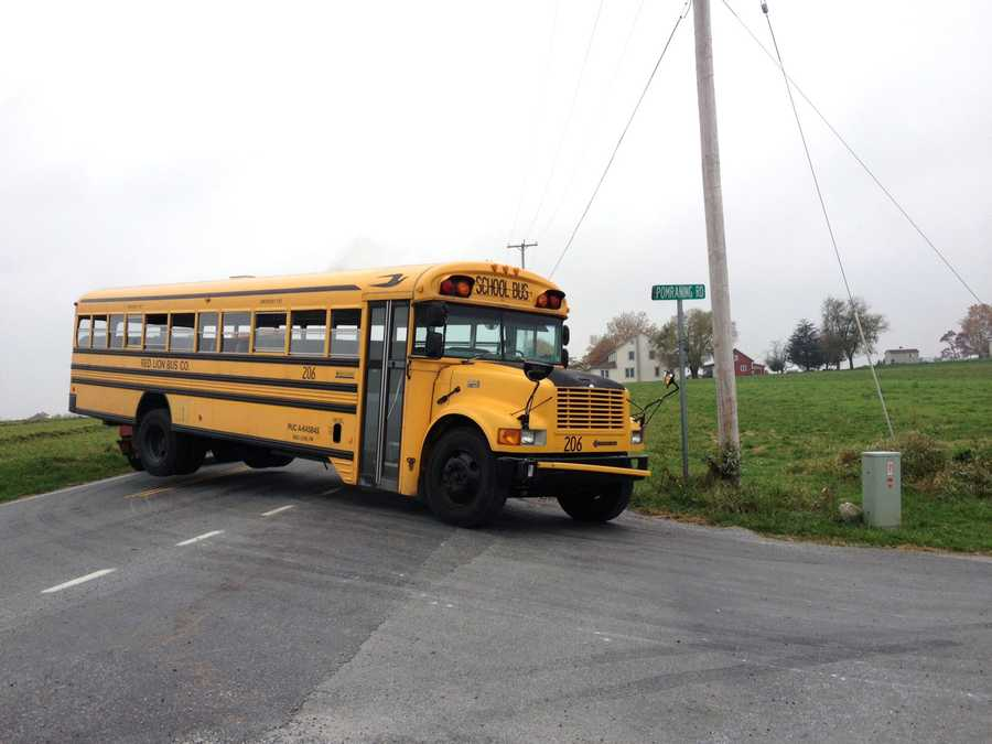 Two of the 15 students on the bus were taken to York Hospital with non-life-threatening head injuries, state police said.