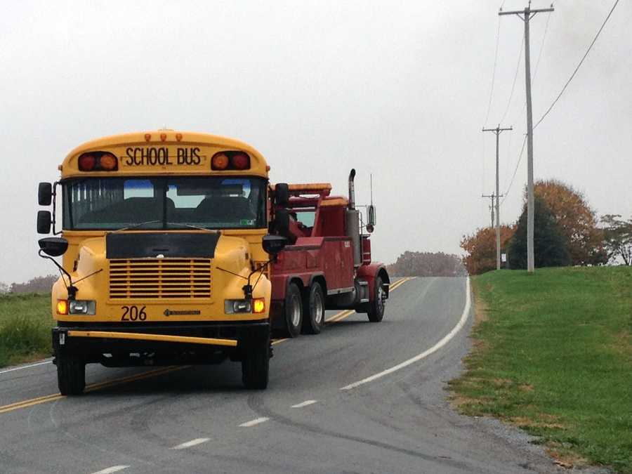 The bus, which was towed away, belongs to the Red Lion School District.