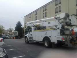 Sunday, Oct 28: Power crews from Ohio, Michigan, Indiana and other states are here in the Susquehanna Valley, ready to work if Hurricane Sandy causes outages. This crew was staying over at a Holiday Inn Express in York County.