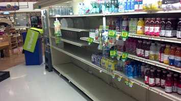 Saturday, Oct. 27: The water aisle at the Giant on Simpson Ferry Road, Mechanicsburg.
