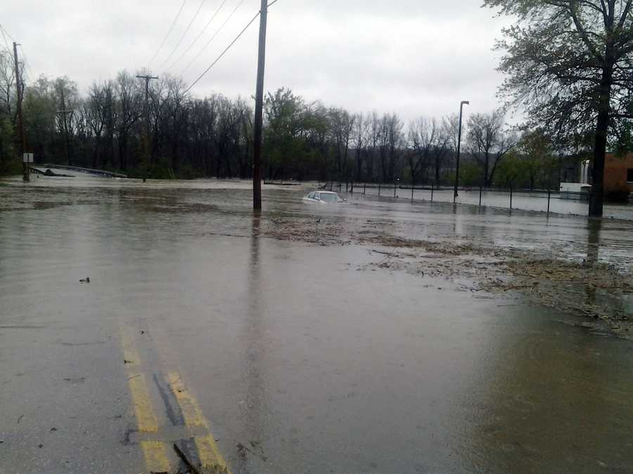 Tuesday: North Sherman Street in Springettsbury Township, York County, is flooded near the wastewater treatment plant. Codorus Creek spilled over its banks.
