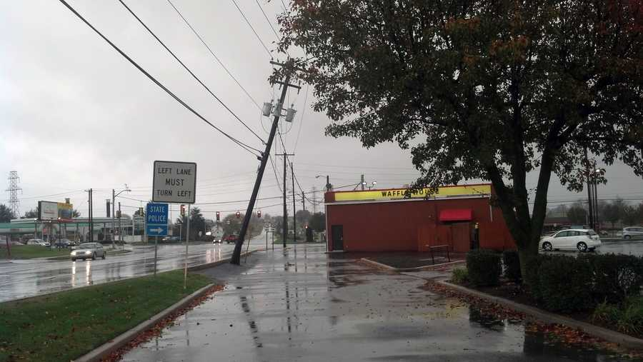 Tuesday: A utility pole is leaning near the Waffle House along Route 896 in Lancaster County.