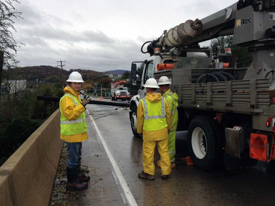 Tuesday: Pole down along Church Road over Interstate 83 in York County