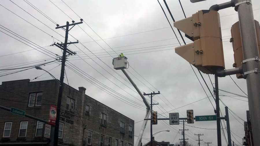 Tuesday: Power crews work at 10th and Lehman streets in Lebanon