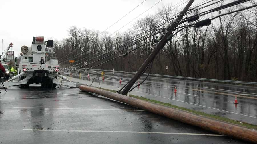 Tuesday: Downed power lines on Allentown Boulevard in Dauphin County.