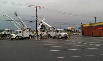 Wednesday: Crews repair a utility pole along Route 30 at Route 896 near the Waffle House.