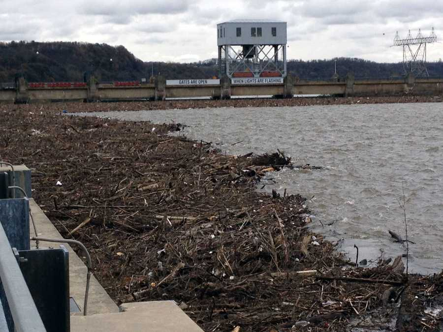 Debris from Sandy has collected against a skimmer wall at the Safe Harbor Dam.