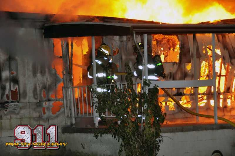 Fire crews found a mobile home in the 500 block of Edgegrove Road engulfed in flames Saturday night. No one was in the home at the time.