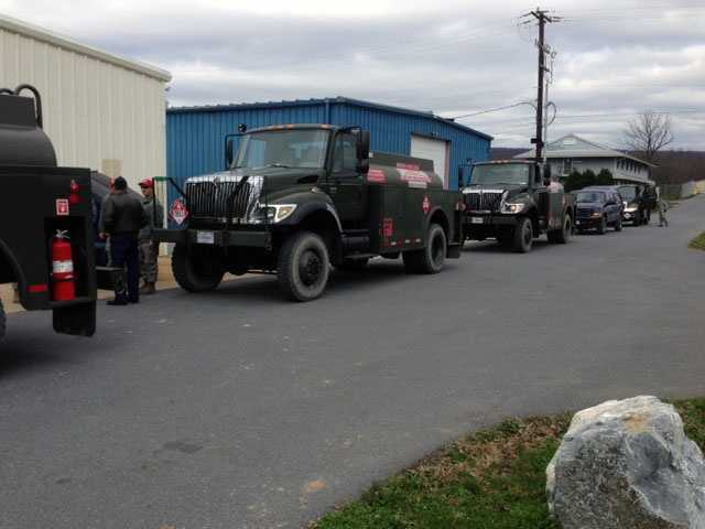 Thirty members of the Air National Guard have been deployed on a seven to 10 day mission assisting victims of Hurricane Sandy. Each truck holds 1,500 gallons of fuel.