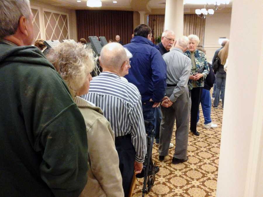 Voters wait inside Willow Valley Manor in Lancaster County.