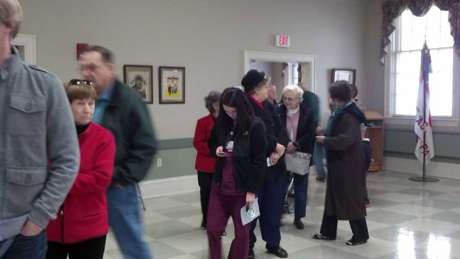 Voters wait inside a polling place in Manheim Township, Lancaster County.