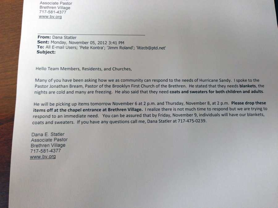 This email that Brethren Village and area churches circulated led to the large amount of donated items.