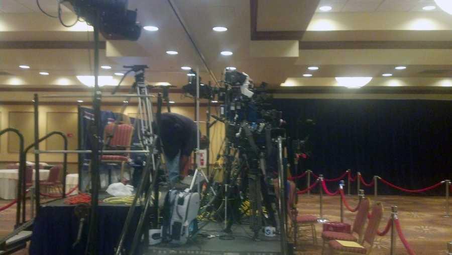 Media cameras are setup at U.S. Sen. Bob Casey's headquarters at the Hilton in Scranton.