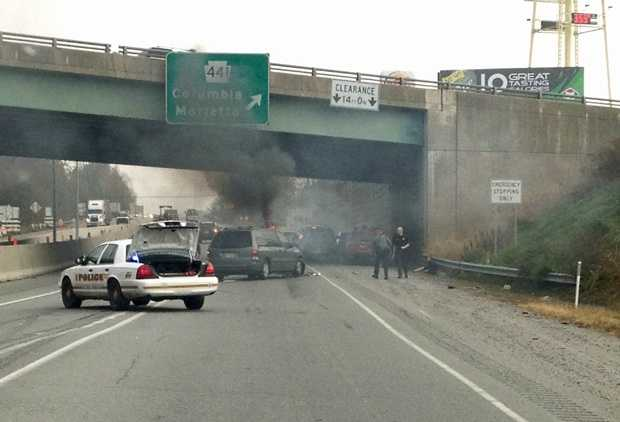 A u local member sent this photo of the vehicle fire along Route 30 on Monday morning. In that incident, officials said a van rear-ended a car in the eastbound lanes near the Route 441 exit in Columbia. The van caught on fire and two people were hospitalized.