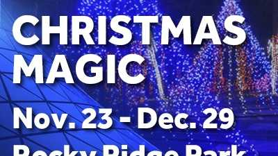 Stroll through the park and enjoy the lights in Rocky Ridge Park!