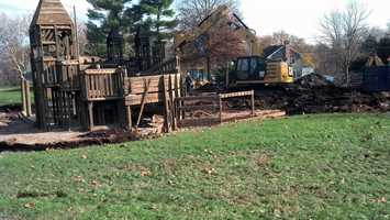A Mount Joy playground that was heavily damaged by arson in September has been torn down.