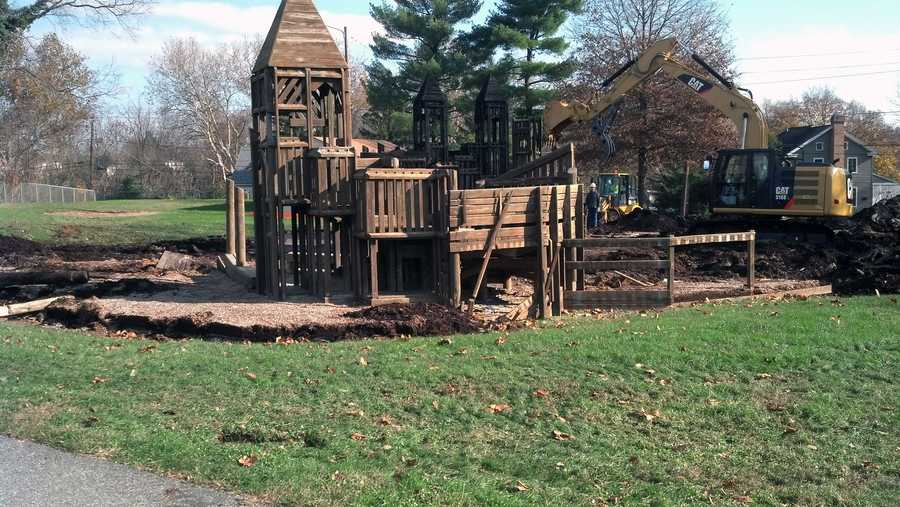 Borough officials estimate rebuilding will cost about $100,000. The playground was not among the properties the borough has insured.