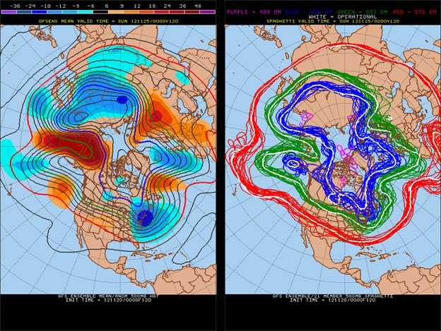 Cold air (in blue) in the East on Saturday.