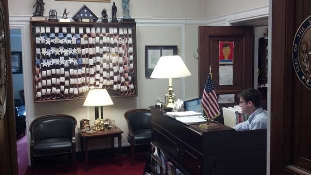 Right when you walk in the door, you notice a display case that contains a flag made of paper chain links. The flag was a gift from students, teachers and staff at Wrightsville Elementary School. It was given to him in the days after Sept. 11, 2001 and Platts said it deserved a permanent place in his office. The door to Platts' inner office is on the right.