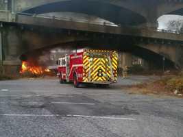Crews put out a blaze under a Harrisburg bridge on Tuesday afternoon.