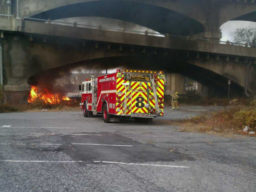 Crews put out a blaze under a Harrisburg bridge on Tuesday afternoon.