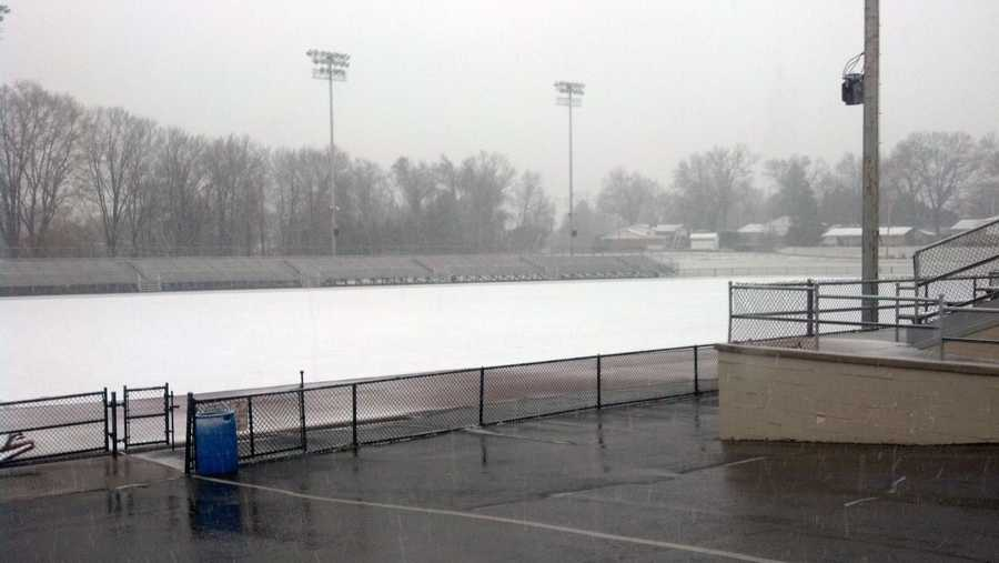 Snow covers West Shore Stadium at Cedar Cliff High School in Lower Allen Township, Cumberland County.