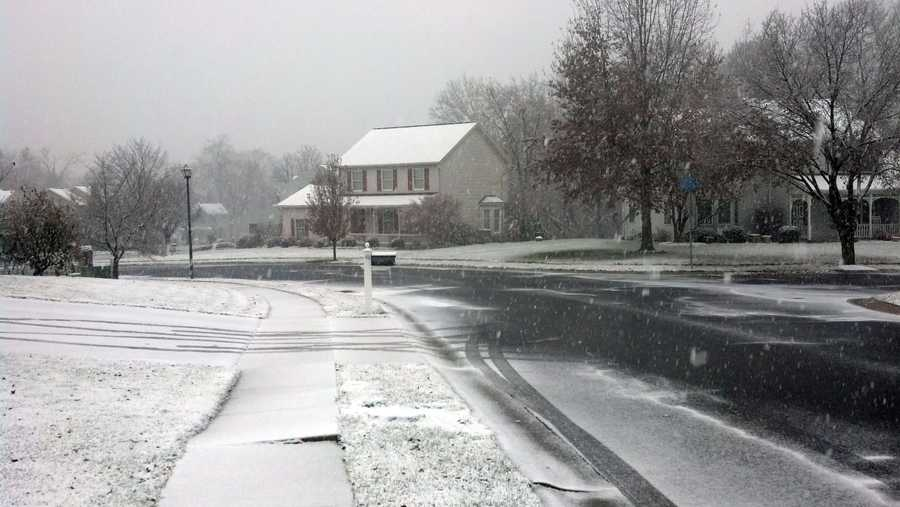 Snow on Windsor Way in East Pennsboro Township, Cumberland County.