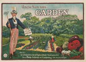 """In World War I and World War II, with many goods in short supply, the government encouraged civilians to grow food in their gardens, which were often dubbed """"Victory Gardens."""""""