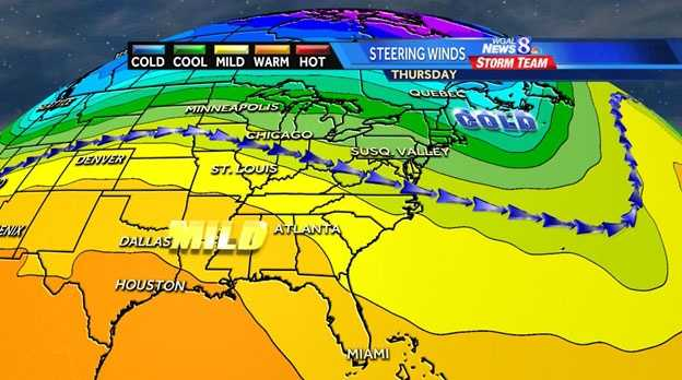 After temps near 60 for Thanksgiving and Black Friday, we did not even get out of the 30s on Tuesday.  Now, I think we will see the upswing in temperatures heading into the weekend and early next week, as we get back into a southwest flow. This graphic shows milder conditions could return for the end of next week or next weekend.