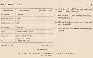 """... this entree. This is a recipe for ham shortcake, a school lunch recipe from 1946. Notice that one of the ingredients is """"Table fat."""""""