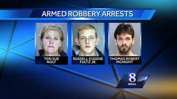Susquehanna Regional police have arrested three people after a robbery at Herr's Market in East Donegal Township, Lancaster County.