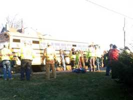 The bus was stopped at the time of the crash.