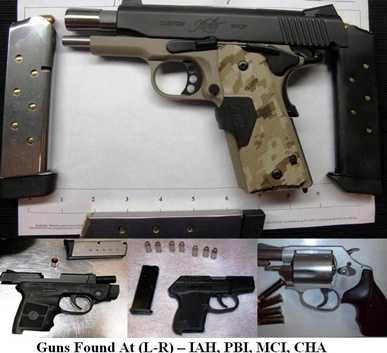 And while the odd items do pop up, guns are the primary offenders of TSA rules. Again, here are more, all confiscated the week of June 15, 2012. They were found in carry-on bags.