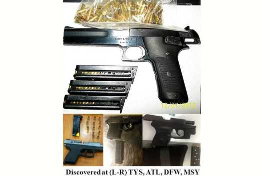 Guns are often found in carry-on bags. Here's a look at guns found during a two-week period from November into December of 2012. The airports where the items were located are noted at the bottom of the image.