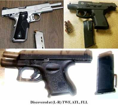 During this two-week period, TSA found 70 guns in carry-on bags at U.S. airports. Most of them were loaded.